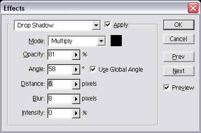 Drop Shadow Menu